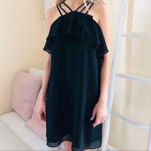 One Market black ruffle mini dress